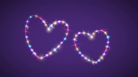 double happiness : purple background with heart forming from stars