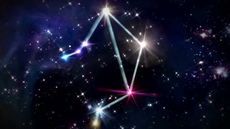 libra : the Libra zodiac sign forming from the twinkle stars with space background