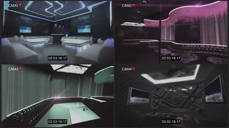 timecode : CCTV Security Camera for night club theme with timecode and noise filter effect by 3D rendering Stock Footage