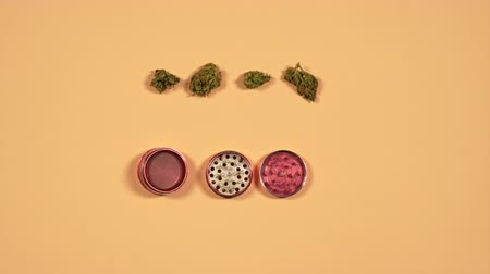Top view of grinder with fresh marijuana buds on the yellow background, Flat lay. Concept of herbal and alternative medicine. Stop motion animation. Vídeos