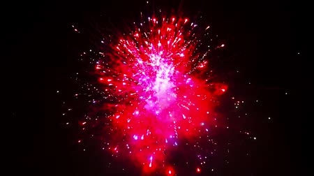 Beautiful fireworks show on New Year celebration. The greatest fireworks for background. Magnificent holiday fireworks in celebration concept