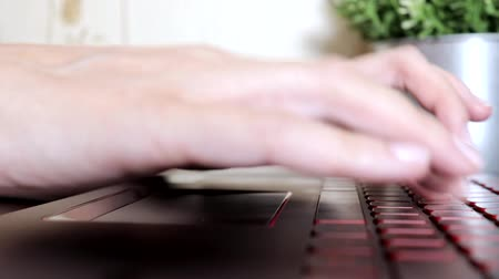 hater : Female woman hands scrolling toucpad and typing on keyboard of laptop, no face woman sitting by the table freelancing working at home, writes post comments in social networks Stock Footage