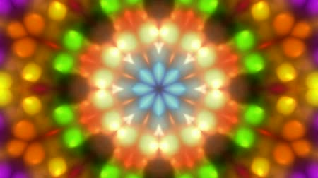 gerçeküstü : color disco flower pattern,magnificent orient fancy texture,disco rhythm light background. Stok Video
