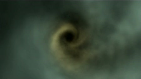 time flow : Center of a tornado in green smoke Stock Footage