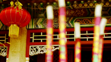 chinese culture : Chinese garden courtyard,red lantern,Burning incense in Incense burner,Wind of smoke,wedding,marriage.