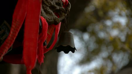maidenhair : Dragon and metal bell on censer,Red ribbon blowing in wind,Trees,shade.