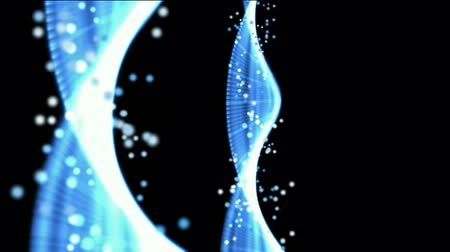 генетика : Blue spiral genome and particles,silk ribbon,tech energybackground.