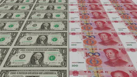 fiscal : Printing Money Animation,1 dollar and 100 RMB bills