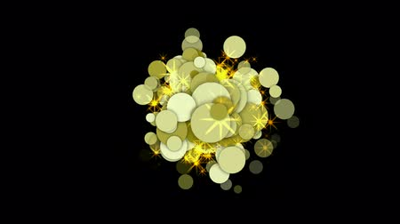 circle cell : explosion golden circle and bubble with flare stars. Stock Footage
