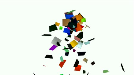motion elements : falling paper card scrap,explosion debris. Stock Footage