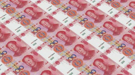 стимул : Printing Money Animation,100 RMB bills. Стоковые видеозаписи