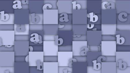 programmers : cartoon letter and alphabet paper card on square mosaics pattern background,Children spelling game.