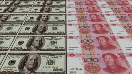 forgery : Printing Money Animation,100 dollar and 100 RMB bills