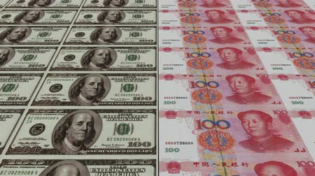 стимул : Printing Money Animation,100 dollar and 100 RMB bills