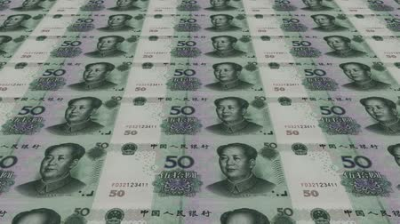 para kazanmak : Printing Money Animation,50 RMB bills. Stok Video