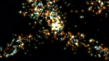 ohnivý : explosion flicker particles dots & fireworks at night,wedding,holiday background,Hollywood stage.