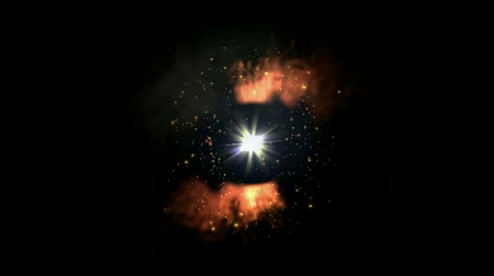 doomsday : swirl fire around dazzling rays light,sunlight and explosion particles in outer space,tunnel hole. Stock Footage