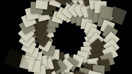 geometry compass : rotation square paper cards tunnel hole and swirl stairway,computer tech web background. Stock Footage