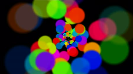 psicodélico : abstract colorful circles loop at night,bubble and blister array background,dancing dots and particles.