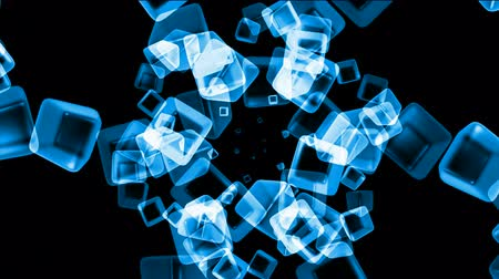 olvad : ice block,crystal jewelry necklace,flying glass boxes and rays light,tech web cubes matrix.