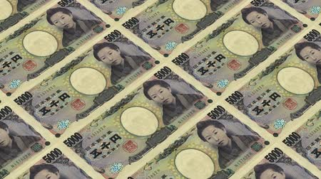 стимул : 5000 japanese yen,Printing Money Animation. Стоковые видеозаписи
