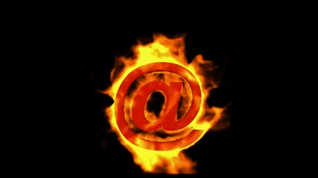 sembol : @ mail,Internet fire symbol. Stok Video