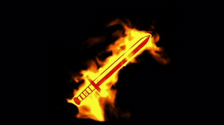 olvad : fire sword sign,burning ancient arms. Stock mozgókép