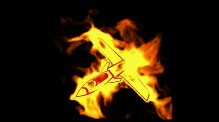 авиация : burning fighter symbol.