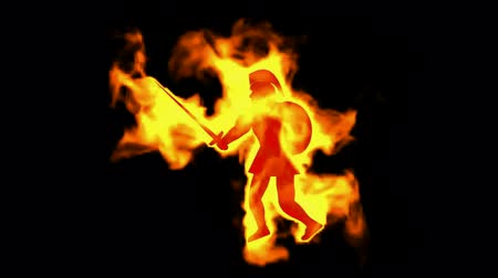duch : burning ancient soldier brandishing sword and shield. Dostupné videozáznamy