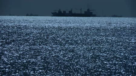 damarlar : Sparkling water surface and Vessel Ship,horizon,skyline,night. Stok Video