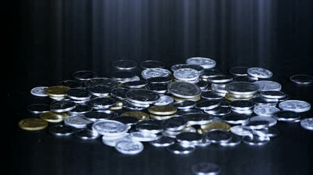 монета : Coin Fall,group of RMB coins and rays light.