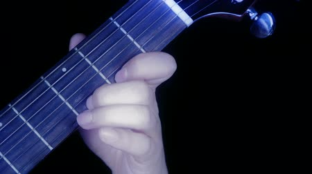 publicity : playing guitar,strum. Stock Footage