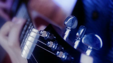 music band stage : playing guitar,strum. Stock Footage