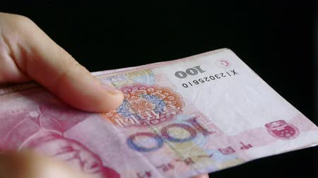 renminbi : Counting money RMB. Stock Footage