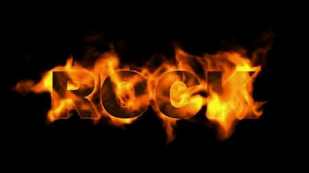 roll : fire rock word. Stock Footage