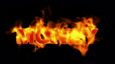 инвестирование : fire money word. Стоковые видеозаписи