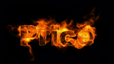 pricetag : burning price text,hot sale. Stock Footage