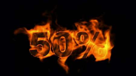 giveaway : Sale Off 50%,burning fifty Percent Off,fire text. Stock Footage