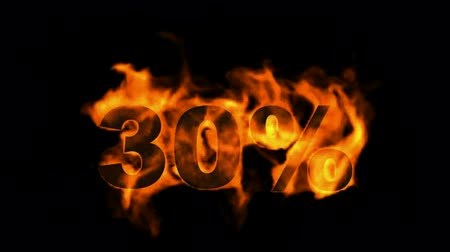 giveaway : Sale Off 30%,burning thirty Percent Off,fire text. Stock Footage