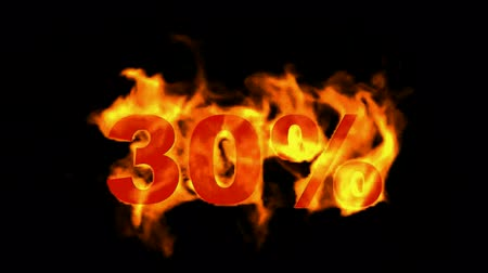 satmak : Sale Off 30%,burning thirty Percent Off,fire text. Stok Video