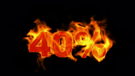 giveaway : Sale Off 40%,burning forty Percent Off,fire text. Stock Footage