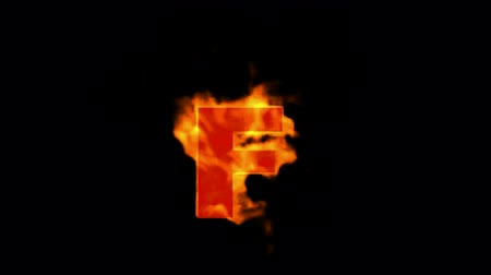 letter f : fire letter F,uppercase. Stock Footage
