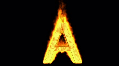 fire letter A,uppercase. Stock Footage