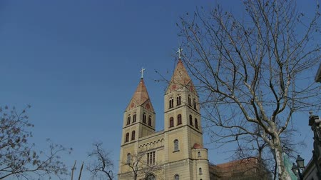 post and beam construction : Panoramic of Qingdao Catholic Church Square & tree.