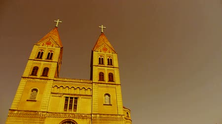 Барселона : Panoramic of Qingdao Catholic Church. Стоковые видеозаписи