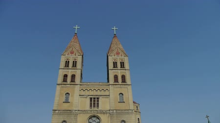 post and beam construction : Panoramic of Qingdao Catholic Church. Stock Footage