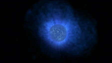 propagation : blue planet & power explosion rays laser energy in universe. Stock Footage