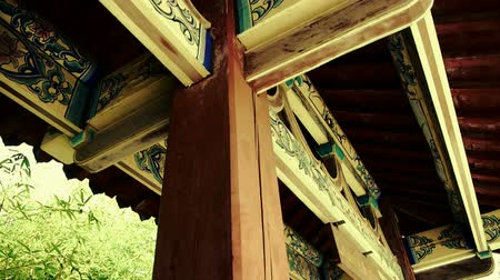 chrámy : looking up roof eaves,China ancient architecture in bamboo forest,carved beams & painted buildings.