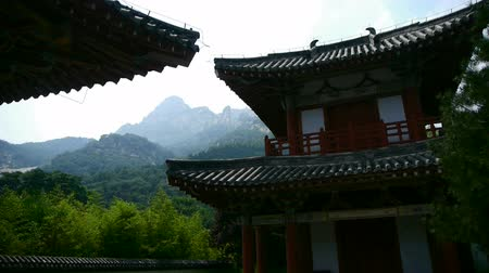 jiangsu : China ancient temple architecture in forest,bamboo mountain hill.