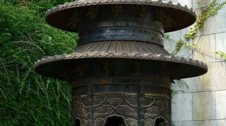 tybet : China religion Inscriptions on censer iron tower,oriental elements temple.